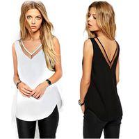 Black White Womens Summer Casual Chiffon Vest Tops Tank Sleeveless Shirt Blouse
