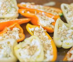 Goat Cheese Stuffed Sweet Peppers look delicious, are colorful and vegetarian.