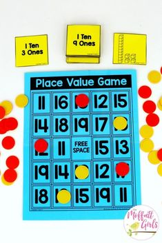Place Value Game- a fun place value math center to teach tens and ones! Teach base ten math with these hands-on math centers for Kindergarten! value Kindergarten Math: Place Value Place Value Worksheets, Math Place Value, Place Value Activities, Base Ten Activities, Place Value Centers, Math Activities, Teaching Place Values, Teaching Math, Teaching Teen Numbers