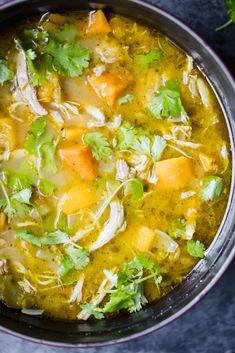 Flavorful, protein-packed butternut squash green chile chicken soup. This comforting, cozy dish comes together in one pot and is perfect for a cold night. Chicken Squash, Chicken Soup, Chicken Chile, Recipe Chicken, Best Butternut Squash Soup, Healthy Soup, Healthy Recipes, Simple Recipes, Cold Night