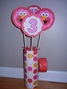 Elmo centerpiece decoration  Girl Birthday  Customize  by khorcha, $11.99.  diy cover soup cans with wrapping paper
