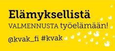 Valmennuskeskus KVAK -verkkosivun kuvabanneri. Visuaalinen toteutus vapaaehtoistyönä ammattitaidon ylläpitämiseksi. Natasha Varis, 2015. – http://www.kvak.fi/