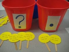 Make sentences without the punctuation marks and kids have to decide whether it needs a question mark or period. I would write sentences on paint stirrers & use recycled cans. Punctuation Activities, Teaching Punctuation, Teaching Writing, Literacy Activities, Teaching English, Grammar Games, Student Teaching, Teaching Ideas, 2nd Grade Writing