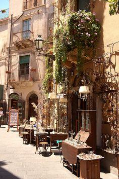 Antique shops in the main street Taormina, Sicily - Italy Places To Travel, Places To Go, Travel Destinations, Sicily Italy, Verona Italy, Puglia Italy, Venice Italy, Taormina Sicily, European Summer