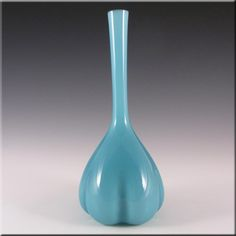 Elme 1970s Scandinavian Blue Cased Glass 'Melon-Form' Vase - £30.00