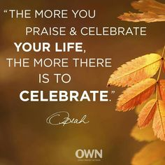 The more you praise and celebrate your life, the more there is to celebrate. Oprah Quotes, Own Quotes, Famous Quotes, Words Quotes, Wise Words, Life Quotes, Sayings, Oprah Winfrey Network, Words Of Comfort