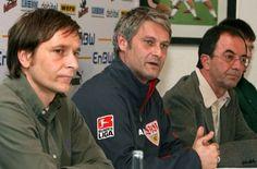 Auch sportlich läuft es nicht schlecht: 2006 beendet Horst Heldt (links) seine aktive Karriere und bleibt als Sportdirektor am Neckar. Mit Armin Veh (Mitte) verpflichten Staudt und Heldt... Foto: dpa