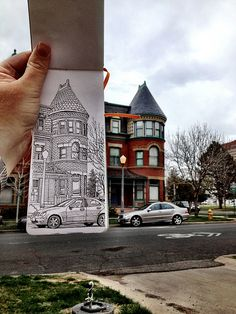 sketching in benedict historic district-- if you sketch enough you can catch the flaws in the most amazing artwork.