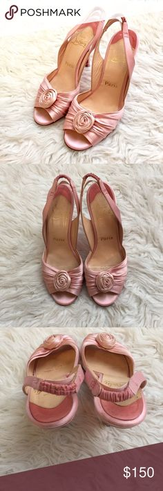 """❗️LAST CALL❗️Christian Louboutin Slingback Heels ❗️LAST CALL-I'm consigning these locally if they aren't sold this week❗️Authentic Christian Louboutin slingbacks. Pretty pink satin upper & covered heel w/leather sole. Approx 4"""" heel. Extra elastic support at heel to prevent from sliding off. Open toe design w/ruching & rosette detail at vamp. Size 37.5, fits US size 7. No box/bag but will be shipped with care. See all photos for signs of wear, not noticeable when wearing but priced to…"""