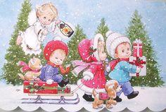 Morehead Children Angel Christmas Holiday Kitten Puppy Dog Greeting Card