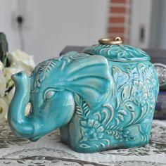 ceramic creative elephant Candy Storage Bottles tea Jars home decor crafts wedding decoration vase porcelain figurine gifts