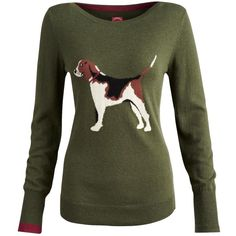 Joules Beagle Intarsia Jumper, Green ($115) ❤ liked on Polyvore