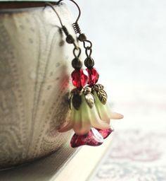 Flower Earrings Flower Jewelry Purple and Green by apocketofposies, $24.00