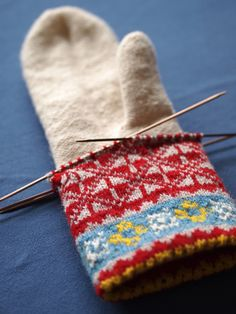 https://flic.kr/p/c7KJes   Latvian mittens from Upitis' book   The white part is the liner. You then pick up from the two-color cast on and knit in the other direction. When you're getting close to the thumb upcoming you flip the liner inside the the growing mitten and then knit around it to get the proper fit. I love the construction on these so much it kills me.