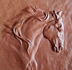 "Work in progress, ""Portrait of a Lusitano."" Clay for Bronze. by Carol Fensholt Bronze Relief ~ 10"" x 10"""