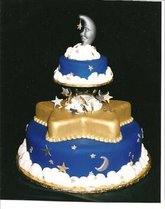 Moon & Stars Wedding Cake - This was inspired by a figurine I saw.  The cake was originally designed for a cake competition, but I did re-create it for a wedding.  The fun part was getting the fondant that dark blue!  The moon was formed in a soap mold I found at a craft store.  The best compliment I received from doing this cake was from other decorators using it as inspiration.  The next year at the same competition I was a judge ... and someone used my design for an entry!  LOL Thanks for l…