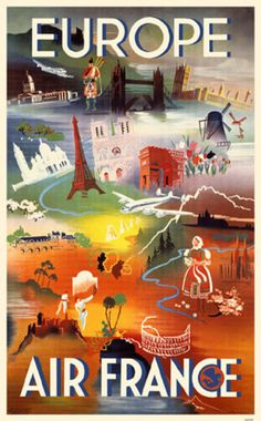 EUROPE - Vintage travel poster Airline Air France