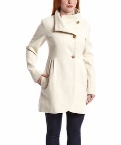 Look at this Jessica Simpson Collection Off-White Pleated Wool-Blend Button-Up Coat on #zulily today!