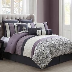 Your bedroom will exude opulence when you adorn your bed with the sophisticated Darla 10-Piece Comforter Set. Decorated with beautiful stripes of varying damask and tile patterns in purple and grey hues, this elegant set gives your room upscale style.