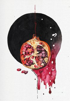 Pomegranate Tattoo, Pomegranate Art, Arm Art, Hades And Persephone, Encaustic Art, Watercolor Print, Cute Art, Art Projects, Art Drawings