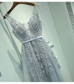 Silver Tulle and Lace Prom Dresses, Wedding Party