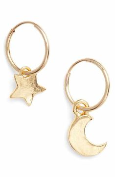 768a2e04a Britt Bolton Moon & Star Drop Earrings Dangly Earrings, Gold Star Earrings,  Gemstone Earrings