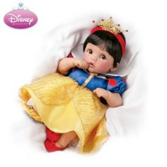 "Musical, Movable Snow White Baby Doll ""Someday My Prince Will Come."""