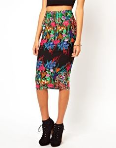 ASOS | ASOS Pencil Skirt in Mirror Floral Placement Print at ASOS