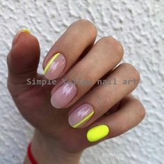 Pin on Nageldesign - Nail Art - Nagellack - Nail Polish - Nailart - Nails Neon Yellow Nails, Yellow Nails Design, Yellow Nail Art, Striped Nails, Neon Nails, My Nails, Yellow Stripes, Nails With Stripes, Gradient Nails