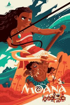 "pixalry: "" Moana Poster - Created by Tom Whalen Limited edition variant prints available for sale at Cyclops Print Works. Disney Movie Posters, Film Disney, Art Disney, Disney Kunst, Disney Magic, Pixar Poster, Cartoon Posters, Vintage Movie Posters, Home Disney Movie"