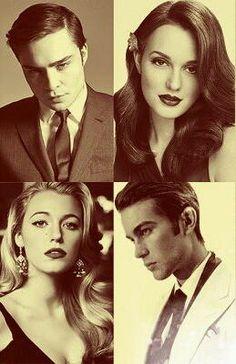 Chuck Bass, Blair Waldorf, Serena Van der Woodsen and Nate Archibald- Gossip Girl. The most fashionable group of friends ever!