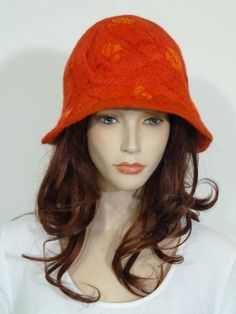 Funky lagenlook 1930's style coral red & orange soft boiled wool cloche hat | eBay
