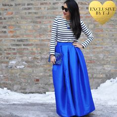 Cobalt Blue Pleated Maxi Skirt