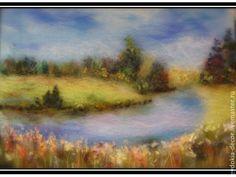 Купить Картина из шерсти. РОДНЫЕ ПРОСТОРЫ... - подарок женщине, подарок, картина, картина для интерьера