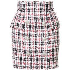 Balmain tweed mini skirt (1,447,660 KRW) ❤ liked on Polyvore featuring skirts, mini skirts, multicolour, tweed mini skirt, fringe mini skirt, short skirt, fringe skirts and white mini skirt