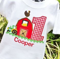 Farm yard Themed birthday tee by lilshabebe on Etsy