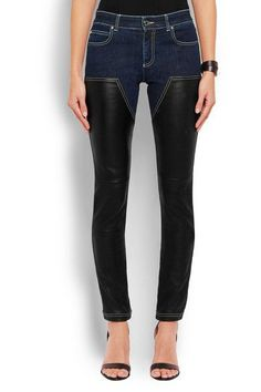 Givenchy - Skinny Jeans In Dark-blue Denim And Black Leather - Dark denim - FR40