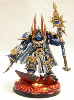 Warhammer 40k, Chaos Space Marines. A Chaos Terminator Sorcerer Lord of the Thousand Sons of Tzeentch
