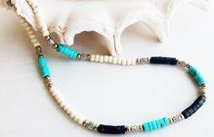 Gem Necklace Pyrite and Howlite - New Custom Handmade Heishi Necklace - Tribal Necklace - Unisex Heishi Jewelry