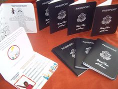 Passports for each kiddo for the perfect airplane or travel party, crafted by PartyCraftnMommy.com.