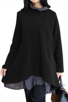 Cowl Neck Patchwork Black Loose Fit Sweatshirt