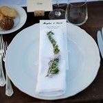 lucca wedding printed menu and rosemary with ribbon
