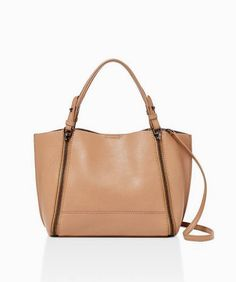 Botkier New York Soho Big Zip Bite Size Leather Tote in Almond