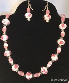 "OOAK Pink ROSE 21"" Necklace Earrings Set Roses Silver CLASP Cats Eye Beads JCG #Handmade #StrandString"