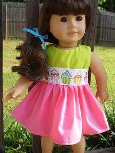 Birthday dress 18 Doll Clothes American Girl Pink Limegreen by sassydollcreations,