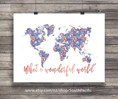 What a wonderful world | floral world map | Geography wall art | Map art print | Travel Printable wall art - Instant download 24x36 inches