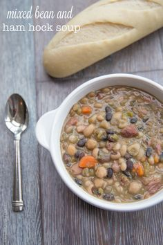 Mixed Bean and Ham Hock Soup (pile on the veggies in the soup!)