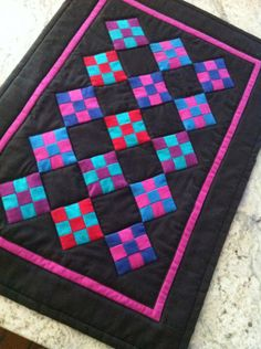 Miniature quilt pieced Amish nine patch blocks 14 x by AnotherBag, $14.00