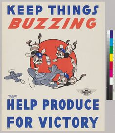 Douglass Aircraft Co., Santa Monica, CA. War Production Drive. Artist: Fred W. Jones c.1942-1945: Keep Things Buzzing.