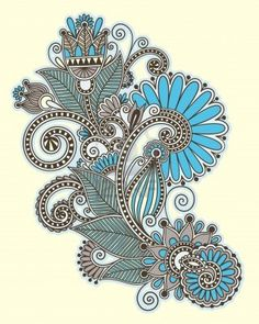 original hand draw line art ornate flower design. Ukrainian traditional style  Stock Photo